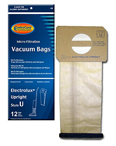 EnviroCare Replacement Micro Filtration Vacuum Bags for Electrolux Upright Style U and ProTeam Prolux, ProCare & ProForce Uprights 12 pack