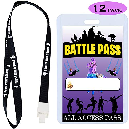 (Video Game Party Supplies Battle VIP Pass Tickets, Gamer Party VIP Pass Lanyards, Cards and Card Holders for Kids Gaming Themed Birthday Party Supplies Decorations (12 PACK))