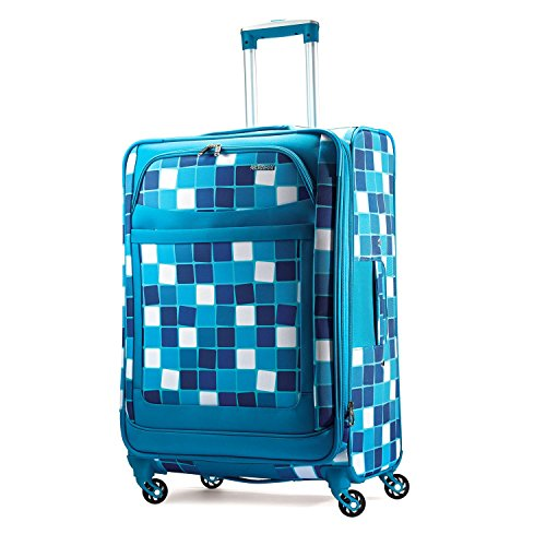 American Tourister Ilite Max Softside Spinner 25, Light Blue Squares by American Tourister