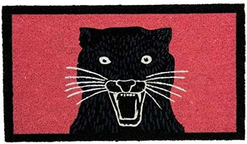 Fisura Panther Indoor Outdoor Durable Pure Coir Doormat, 28 x 16 inches, Anti Slip Backing