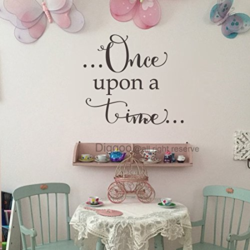 Diggoo Once Upon A Time Wall Decal Fairytale Vinyl Wall Quote Girls Room Decor Baby Girl Nursery Decal (Black,14.5