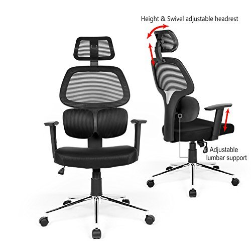 Ergonomic Mesh Office Chair High Back Swiver Computer Desk Task Chairs with Adjustable Lumbar Support, Backrest, Headrest, Armrest and Seat Height for Home Office Conference Room … Multifunction Task Chair