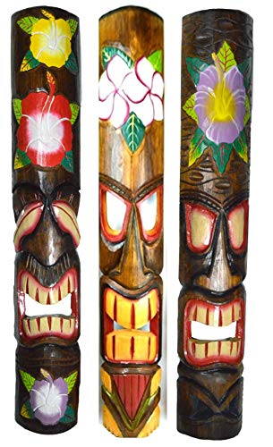 39 IN HAND CARVED BEAUTIFUL SET OF 3 POLYNESIAN TIKI GOD MASKS PINEAPPLE HIBISCUS TURTLE! ()