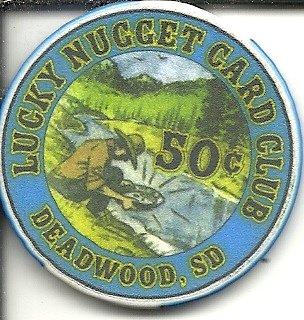 $.50 lucky nugget card club casino chip deadwood south dakota