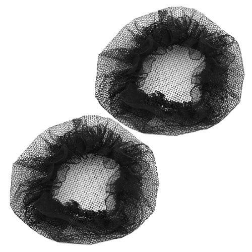 Haarnetz 2 Stück Nylon Netz dehnbar Ballett Dutt Abdeckung schwarz für Damen