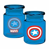 captain america glass cup - ICUP Marvel - Captain America Logo 6oz. Clear Glass Storage Jar With Airtight Lid