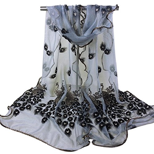 Livecity Women Scarf Flower Embroidered Lace Scarf Long Soft Wrap Shawl Stole Pashmina - Black: Amazon.co.uk: Clothing