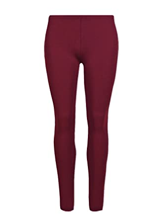 2c749ad42e41e4 Glossy Look Girls Plain 100% Cotton Leggings Children Stretchy Legging Pants  Wine Size 7-13 Years: Amazon.co.uk: Clothing
