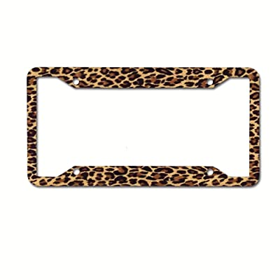 Cheetah Leopard Brown Aluminum Metal License Plate Frame Tag with Chrome Screw Caps - Car License Plate Covers for US Vehicles: Automotive