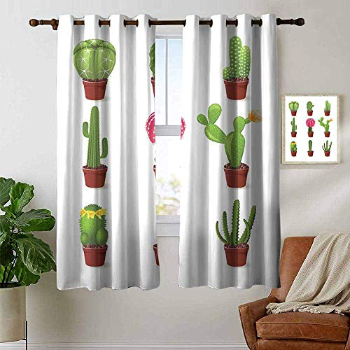 petpany Window Blackout Curtains Cactus,Digitally Composed Barrel Echino Chin Hedge Cephalocereus Cactus Varieties Cartoon,Multicolor,for Room Darkening Panels for Living Room, Bedroom 42