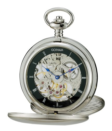 Gotham Men's Silver-Tone Double Cover Exhibition Mechanical Pocket Watch # GWC18801SB -