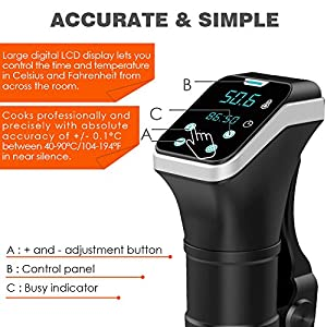 Sous Vide Cooker, Awakelion IPX7 Waterproof Immersion Circulator, 800W Powerful & Accurate Digital Timer, Ultra-quiet, Stainless With Gift Package