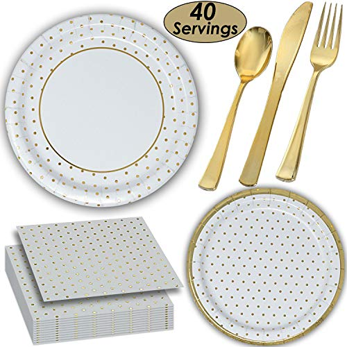 Gold dot Tableware - 40 Servings - Large and Small Paper Plates, Shiny Coated Plastic Cutlery, Luncheon Napkins. ()