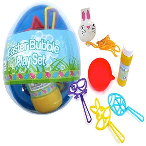 Pre-Filled 6pc Jumbo Easter Egg Bubble Blowing Play Set! Perfect Easter Basket Filler! Plus Bonus Easter Bunny Whistle!