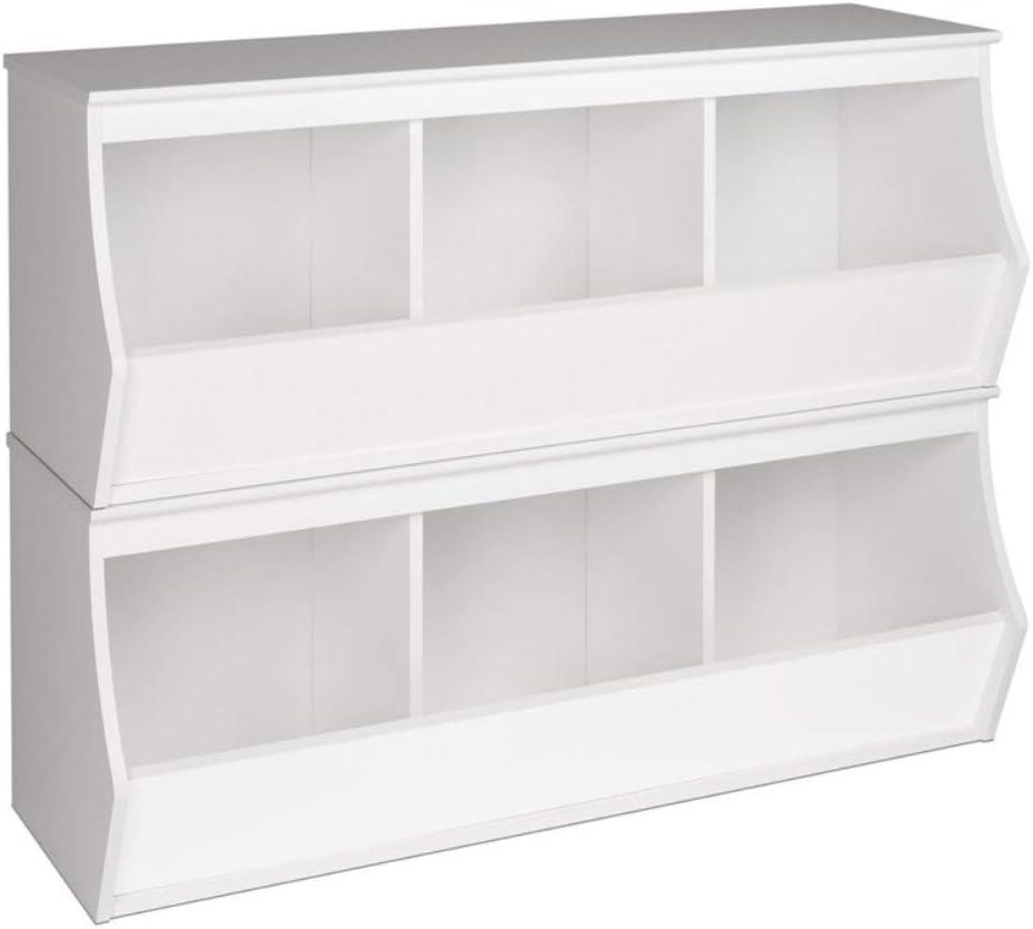 Prepac Monterey Stacked 6-Bin Storage Cubby, White, 6 Bin (WRSM-0003-2M)