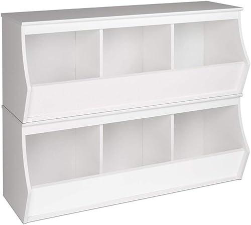 Prepac Monterey Stacked 6-Bin Storage Cubby, White, 6 Bin WRSM-0003-2M