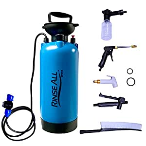 Rinse All PW10 2.1 Gallon – Car Washer Kit - Camp Shower - Portable Shower with Heavy Duty Shower Pump Handle, Flexible Hose and Pressure Gauge