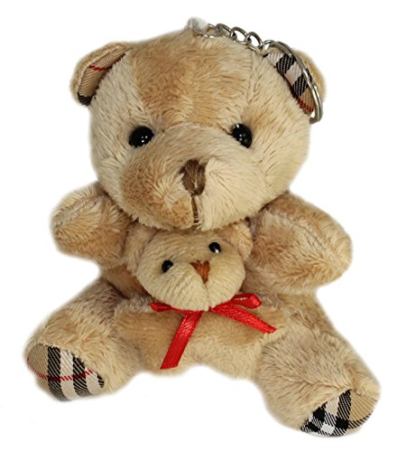 Lucore Mommy Teddy Bear With Baby Cub Plush Stuffed Animal Keychain - Hanging Toy Doll, Lucky Charm & Ornament (Brown)