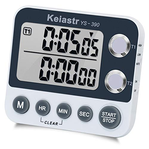 Digital Kitchen Timer Magnetic Back,Cooking Timer,Large Display Loud Alarm Count-Up & Count Down for Cooking Baking Sports Games Office,Volume Adjustable,ON/OFF Switch,Battery Including (Dual Timer) (Hour Timer 3)