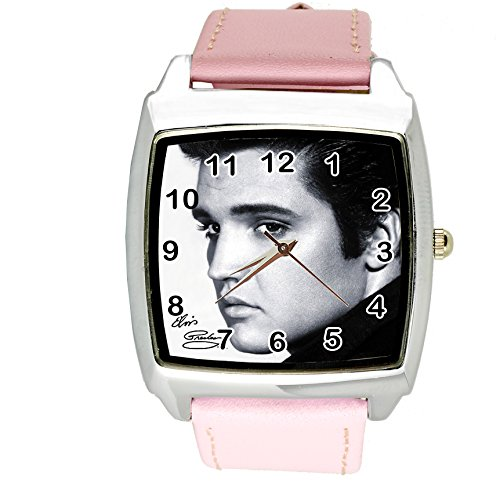 (TAPORT Elvis Presley Music Legend Quartz Square Watch Real Leather Pink Band E8 Dial+ Spare Battery + Gift)
