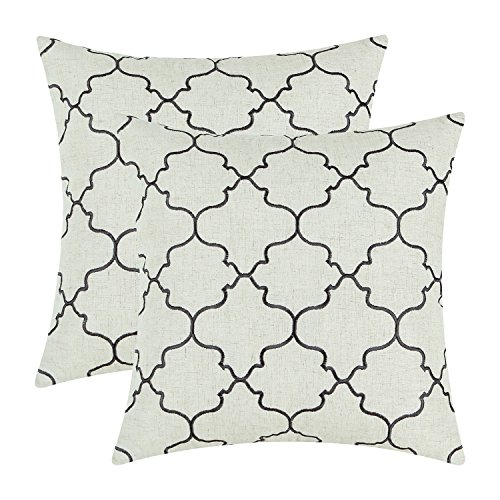 pack of 2 calitime soft throw pillow covers cases for couch sofa bed vintage quatrefoil trellis geometric embroidered 17 x 17 inches dark grey