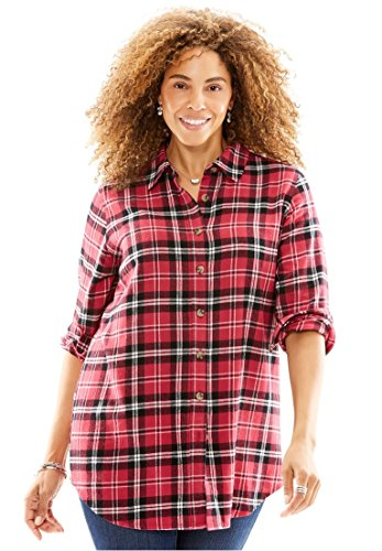 Woman Within Womens Plus Size Classic Flannel Bigshirt Ruby Rose Plaid 2X