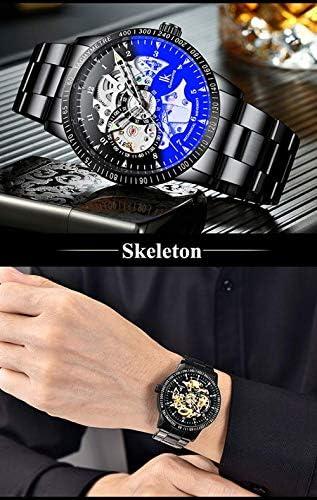 Montre Homme Lumineuse Cadran Squelette Engrenages Montre mécanique Classique Automatique Visible avec boîte d'origine, Bleu Argent