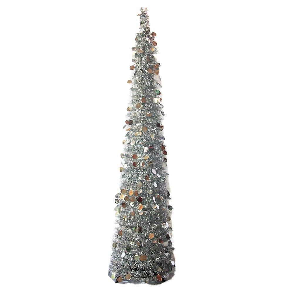 Albero di Natale gonna pieghevole regolabile paillettes decorazioni per albero di Natale, albero di Natale festa di Natale decorazione 150cm/59.06in, argento Dream-cool