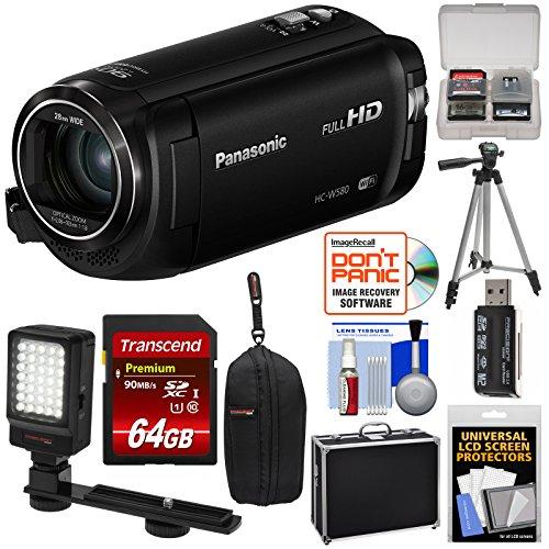 Panasonic HC-W580 Twin Wi-Fi HD Video Camera Camcorder with 64GB Card + Hard Case + Tripod + LED Light + Reader + - Led Panasonic Hd