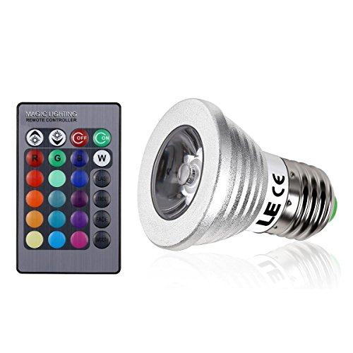 Bombilla LED E27 de 3w Lighting EVER con 16 colores y mando