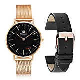 PROKING Mens Womens Watches,Sapphire Crystal Scratch-resistant Ultra Thin Fashion Couple Watches,Waterproof Rose Gold Stainless Steel Watch for Women with Free Genuine Leather Strap(Men/Women)