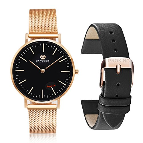 PROKING Mens Watches,Scratch-resistant Sapphire Crystal Ultra Thin Fashion Watches for Men,Waterproof Business Casual Rose Gold Stainless Steel Wrist Watch with Free Genuine Leather Band (Men, Black) (Watch Sapphire Crystal)