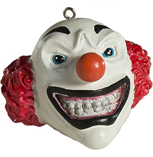 HorrorNaments Evil Grinning Clown Head Horror Ornament - Scary Prop and Decoration for Halloween, Christmas, Parties and Events - Series -