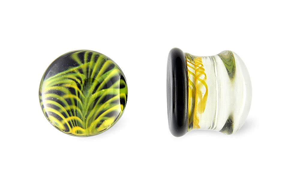 Scrap Metal 23 Pair Black and Yellow Feather Pyrex Glass Plugs 0g 0 Gauge 8mm