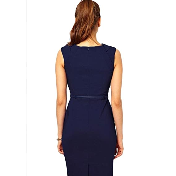 Womens Zipper Stretchy Midi Length Bodycon Fitted Pencil ...