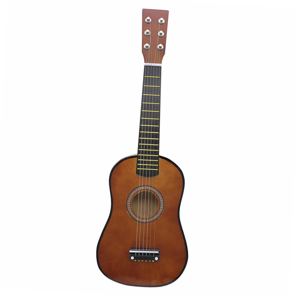Baosity 23 Inch 6 String Acoustic Guitar Kids Toy Beginner Practice Musical Instrument - Coffee