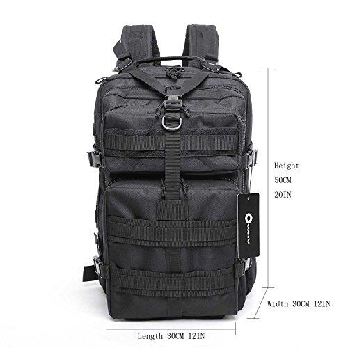 tattico zaino campeggio borsa impermeabile–Owhy marca Outdoor trekking campeggio trekking caccia, khaqi Black