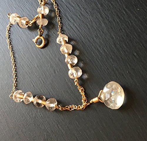 Gold Tennis Gemstone Bracelets (Moonstone Bracelet in Gold Filled Chain)