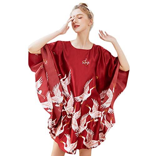 Price comparison product image ANJUNIE Women O Neck Sleepwear Satin Pullover Nightdress Lingerie Underwear Loose Nightdress(Wine, Freesize)