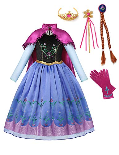 aibeiboutique Princess Anna Costume Halloween Cosplay Deluxe Dress Up for Girls (Blue, 2-3 Years)
