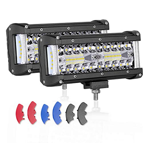 7 inch LED Pods, AKD Part 200W CREE Side Shooter Offroad Flood Spot Combo Led Bumper Lights Driving Lights for Truck Jeep Boat ATV UTV