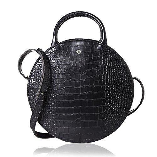 The Lovely Tote Co. Women's Fashion Crocodile Circle Crossbody Bag,Black ()