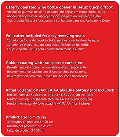 HAEGER ROVIGO - Sacacorchos - funciona con pilas alcalinas AA (no incluidas), caja deluxe, accesorios: - corta sello de la botella - base / cargador