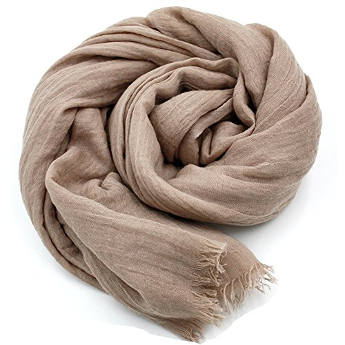 YOBOKO Womens Fashion Long Scarf Linen-Cotton Pure Color Big Size Soft Scarves Shawl (Cotton Linen Khakis)