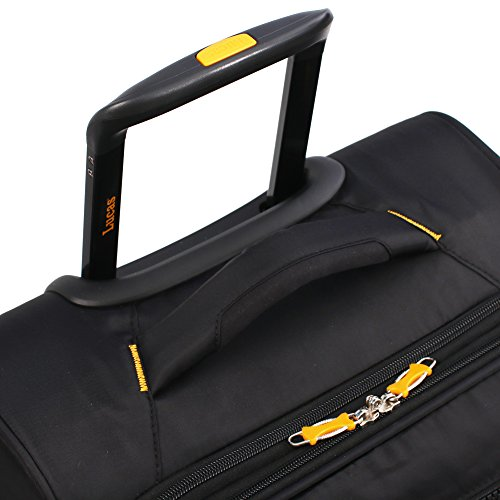 Lucas Ultra Lightweight 3 Piece Expandable Suitcase Set With Spinner Wheels (One Size, Black) by Lucas (Image #4)