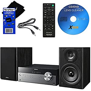 Sony All In One Stylish Micro Music Stereo System with Wireless Streaming NFC (Near Field Communications), Bluetooth, USB, CD player & AM/FM tuner + Remote + Cleaner + Aux Cable + HeroFiber Cloth