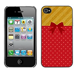 [Neutron-Star] Snap-on Series Teléfono Carcasa Funda Case Caso para iPhone 4 / 4S [Pajarita Waffle Lunares Rojo]