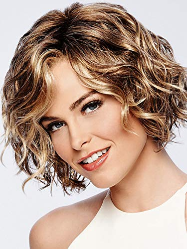 SEVENCOLORS Short Curly Wigs for White Women Blonde Mix Brown Loose Wave Hair Wigs Natural Looking Synthetic Daily Party Wig with Free Wig Cap (1#) -