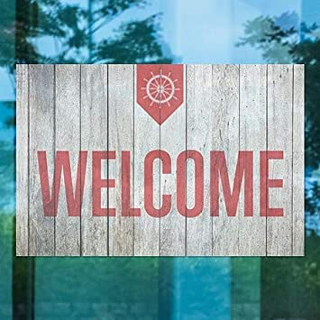 CGSignLab Nautical Wood Window Cling 27x18 5-Pack Welcome