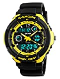 Gosasa Multifunction Sport Watch Men's Digital Shock Resistant Quartz Alarm Waterproof Watches Yellow